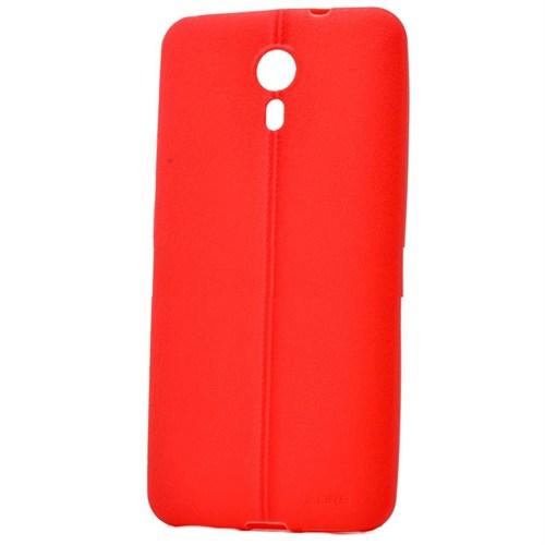 Android One 4G Deri Görünümlü Silikon Kılıf Kırmızı