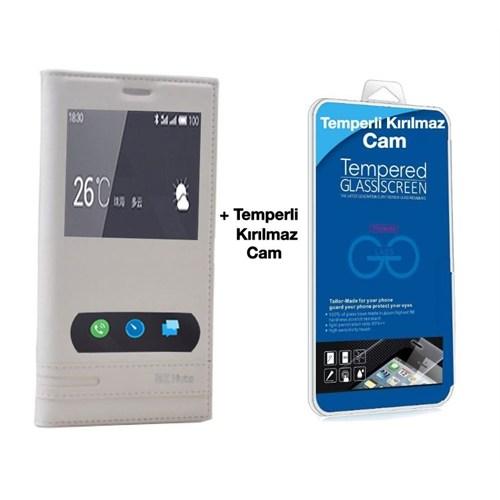 Teleplus Meizu M2 Note Mıknatıslı Çift Pencereli Kılıf Beyaz + Temperli Kırılmaz Ekran