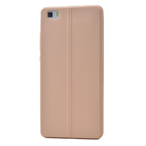 Teleplus Huawei P8 Lite Deri Görünümlü Silikon Kılıf Kahve