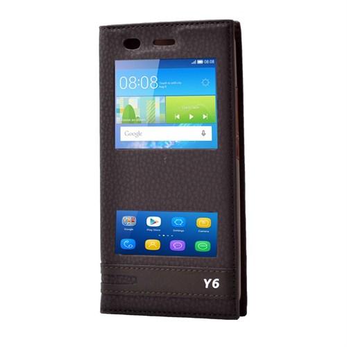 Teleplus Huawei Honor Y6 Lüx Pencereli Kılıf Kahve