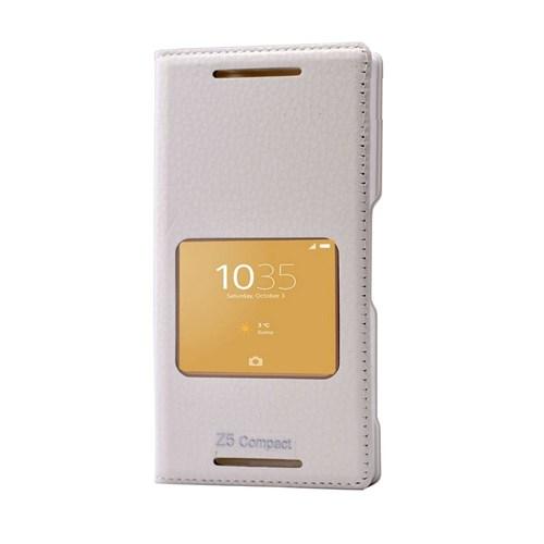 Teleplus Sony Xperia Z5 Compact Mini Pencereli Kılıf Beyaz