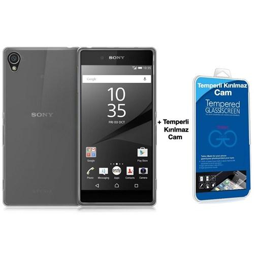 Teleplus Sony Xperia Z5 Silikon Kılıf Şeffaf + Kırılmaz Cam