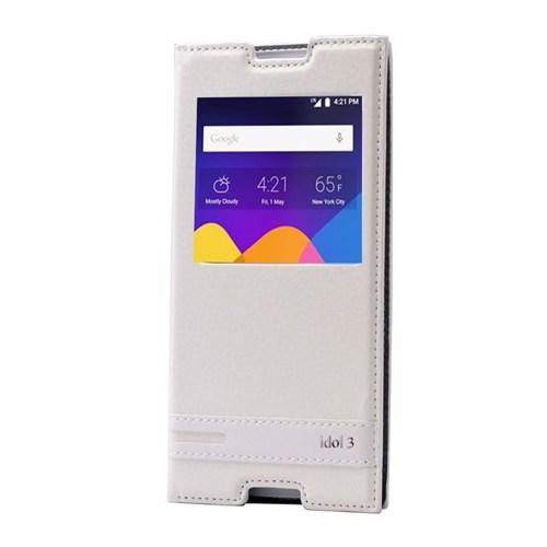 Alcatel İdol 3 Lüx Pencereli Kılıf Beyaz