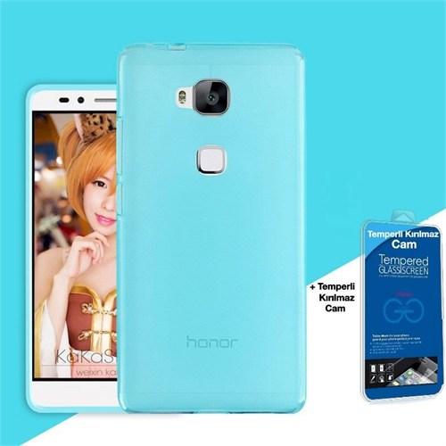 Teleplus Huawei Gr5 Silikon Kılıf Mavi + Kırılmaz Cam