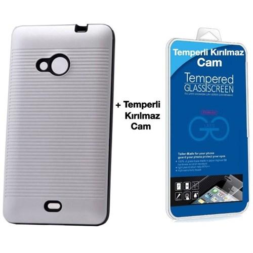 Teleplus Microsoft Lumia 535 Çift Katmanlı Kılıf Gümüş + Temperli Kırılmaz Cam