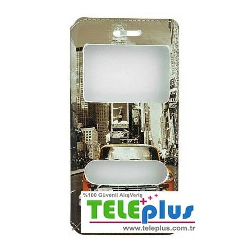 Teleplus Casper Via V8 Çift Pencereli Kılıf Sarı Taksi Desenli