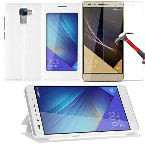 KılıfShop Huawei Honor 7 Pencereli Kılıf + Kırılmaz Cam Ekran Koruyucu