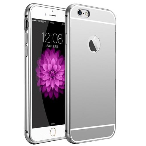 Kılıfshop Apple İphone 6S Plus Aynalı Lüks Metal Bumper Kılıf