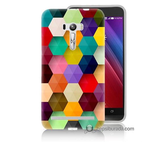 Teknomeg Asus Zenfone Selfie Kapak Kılıf Renkli Petek Baskılı Silikon