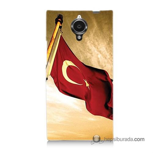 Teknomeg General Mobile Discovery Elite Kılıf Kapak Türk Bayrağı Baskılı Silikon