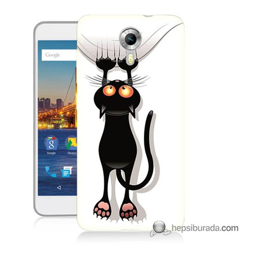 Teknomeg General Mobile 4G Android One Kılıf Kapak Kara Kedi Baskılı Silikon