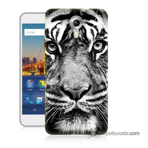 Teknomeg General Mobile 4G Android One Kapak Kılıf Kaplan Baskılı Silikon