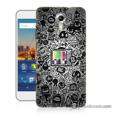 Teknomeg General Mobile 4G Android One Kapak Kılıf Renkli Tv Baskılı Silikon