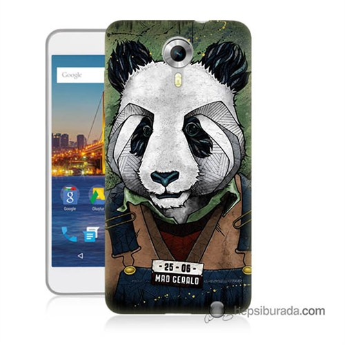 Teknomeg General Mobile 4G Android One Kapak Kılıf İşçi Panda Baskılı Silikon