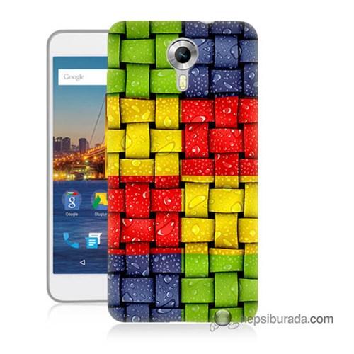 Teknomeg General Mobile 4G Android One Kılıf Kapak Renkli Sargılar Baskılı Silikon