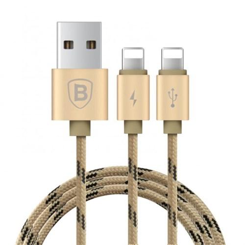 Baseus Kny 2İn1 Apple Lightning Usb Data Kablosu 2 Lightning Çıkışlı Gold 120Cm