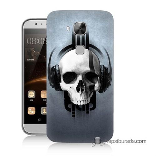 Teknomeg Huawei Ascend G8 Kılıf Kapak Müzik Dinleyen Kurukafa Baskılı Silikon