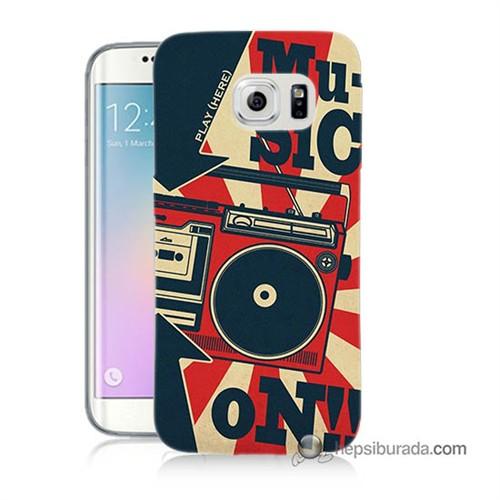 Teknomeg Samsung Galaxy S6 Edge Plus Kapak Kılıf Müzik Baskılı Silikon