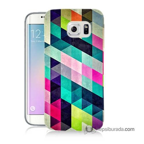 Teknomeg Samsung Galaxy S6 Edge Plus Kılıf Kapak Mozaikler Baskılı Silikon