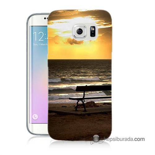 Teknomeg Samsung Galaxy S6 Edge Plus Kılıf Kapak Gün Batımı Baskılı Silikon