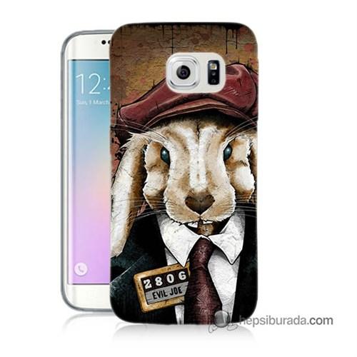 Teknomeg Samsung Galaxy S6 Edge Kapak Kılıf Kötü Tavşan Baskılı Silikon