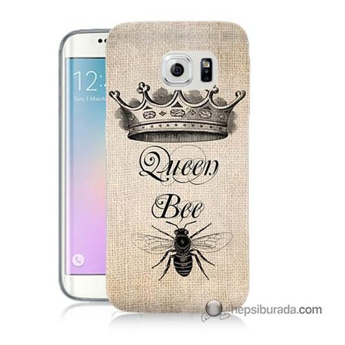 Teknomeg Samsung Galaxy S6 Edge Kılıf Kapak Queen Bee Baskılı Silikon