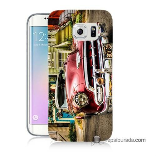 Teknomeg Samsung Galaxy S6 Edge Kapak Kılıf Klasik Araba Baskılı Silikon