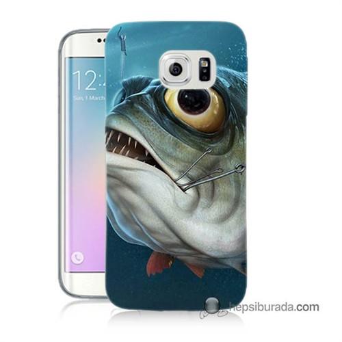 Teknomeg Samsung Galaxy S6 Edge Kapak Kılıf Balık Baskılı Silikon