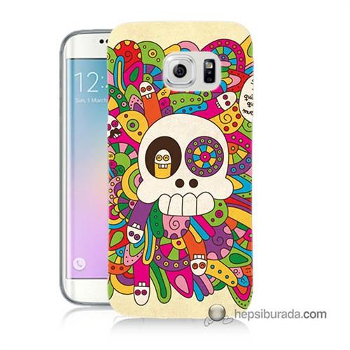 Teknomeg Samsung Galaxy S6 Edge Plus Kapak Kılıf Örgülü Kurukafa Baskılı Silikon