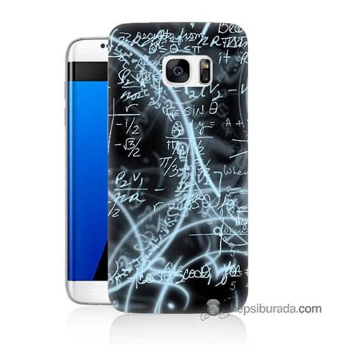 Teknomeg Samsung Galaxy S7 Edge Kapak Kılıf Matematik Baskılı Silikon