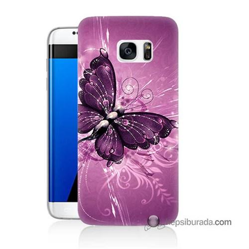 Teknomeg Samsung Galaxy S7 Edge Kılıf Kapak Mor Kelebek Baskılı Silikon