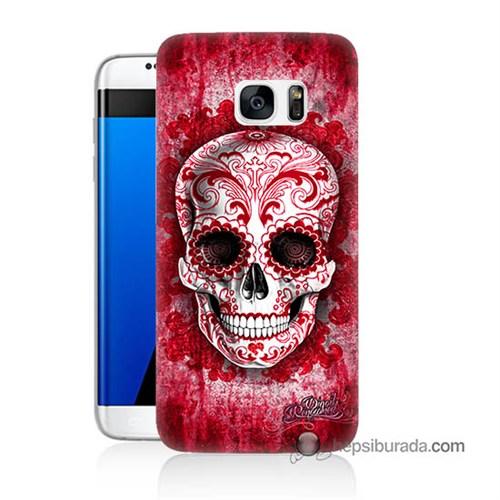 Teknomeg Samsung Galaxy S7 Edge Kılıf Kapak Kırmızı İskelet Baskılı Silikon