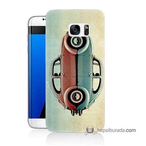 Teknomeg Samsung Galaxy S7 Edge Kılıf Kapak Mavi Kırmızı Wolkswagen Baskılı Silikon