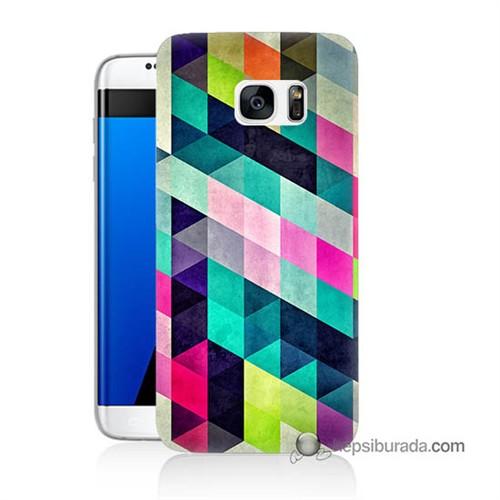 Teknomeg Samsung Galaxy S7 Edge Kılıf Kapak Mozaikler Baskılı Silikon