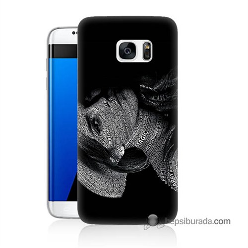 Teknomeg Samsung Galaxy S7 Edge Kılıf Kapak Yazılı Kadın Baskılı Silikon