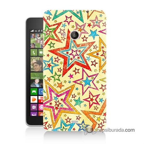 Teknomeg Nokia Lumia 535 Kılıf Kapak Yıldızlar Baskılı Silikon