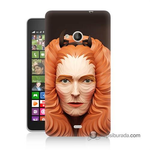 Teknomeg Nokia Lumia 535 Kapak Kılıf Kabartma Kız Baskılı Silikon