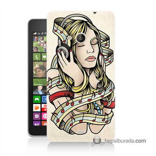 Teknomeg Nokia Lumia 535 Kapak Kılıf Müzik Aşkı Baskılı Silikon