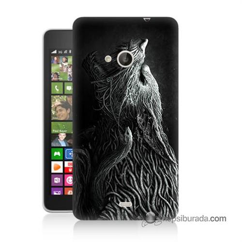 Teknomeg Nokia Lumia 535 Kılıf Kapak Savaşçı Kurt Baskılı Silikon