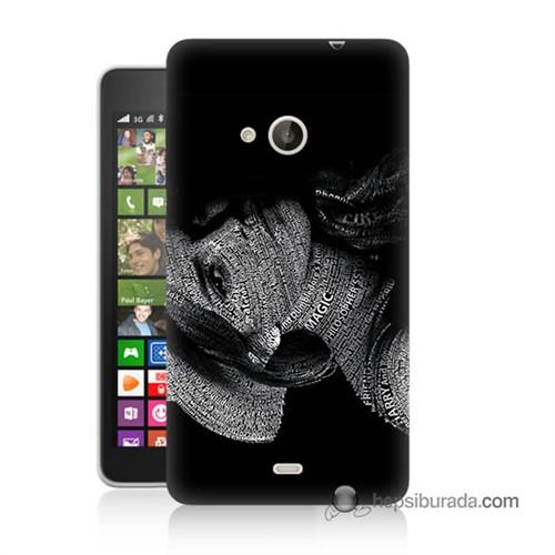Teknomeg Nokia Lumia 535 Kılıf Kapak Yazılı Kadın Baskılı Silikon