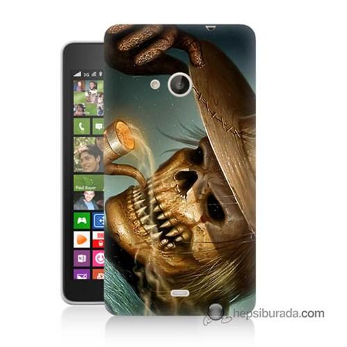 Teknomeg Nokia Lumia 535 Kapak Kılıf Pipolu Kurukafa Baskılı Silikon