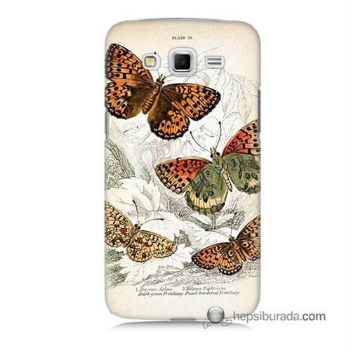 Teknomeg Samsung Galaxy Grand 2 Kapak Kılıf Kelebekler Baskılı Silikon