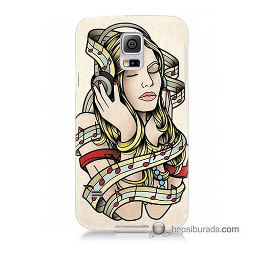 Teknomeg Samsung Galaxy S5 Mini Kapak Kılıf Müzik Aşkı Baskılı Silikon