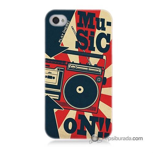 Teknomeg İphone 4 Kapak Kılıf Müzik Baskılı Silikon