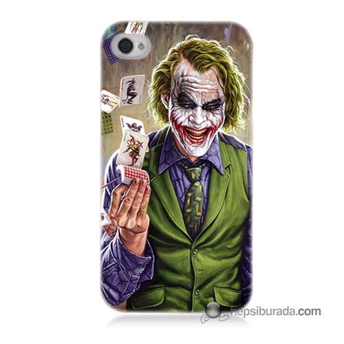 Teknomeg İphone 4 Kılıf Kapak Kartlı Joker Baskılı Silikon
