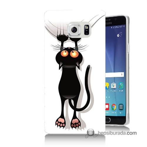 Teknomeg Samsung Galaxy Note 5 Kılıf Kapak Kara Kedi Baskılı Silikon