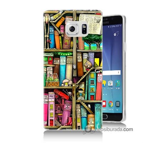 Teknomeg Samsung Galaxy Note 5 Kapak Kılıf Kitaplık Baskılı Silikon