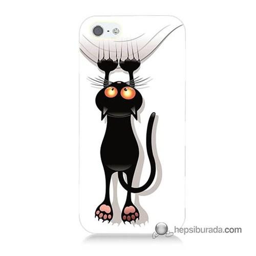 Teknomeg İphone 5 Kılıf Kapak Kara Kedi Baskılı Silikon