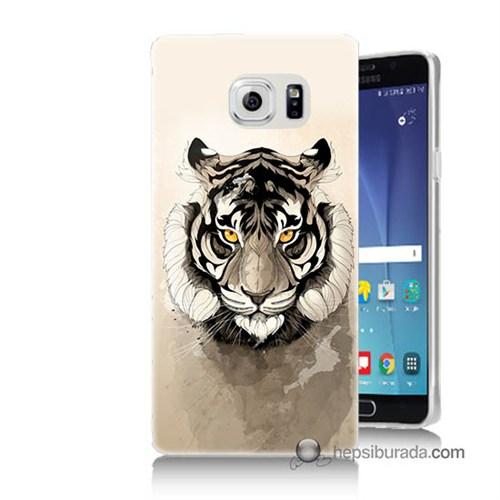 Teknomeg Samsung Galaxy Note 5 Kapak Kılıf Beyaz Aslan Baskılı Silikon