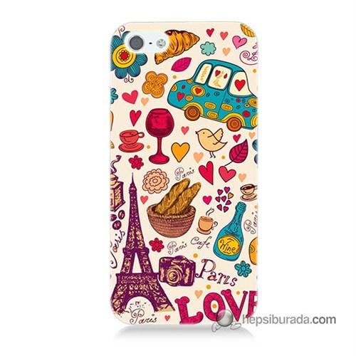 Teknomeg İphone Se Kapak Kılıf Paris Love Baskılı Silikon